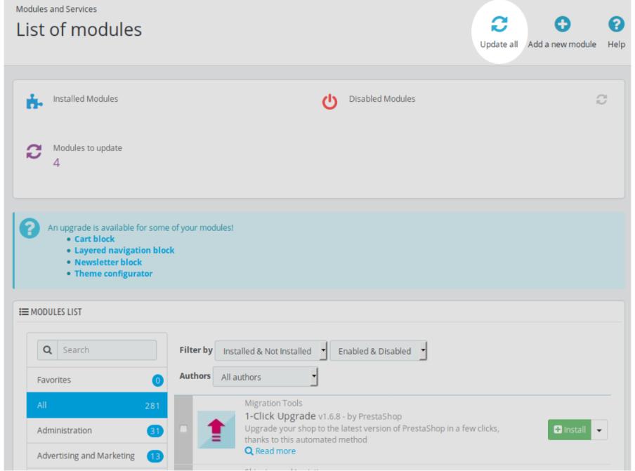 list of modules PrestaShop upgrade