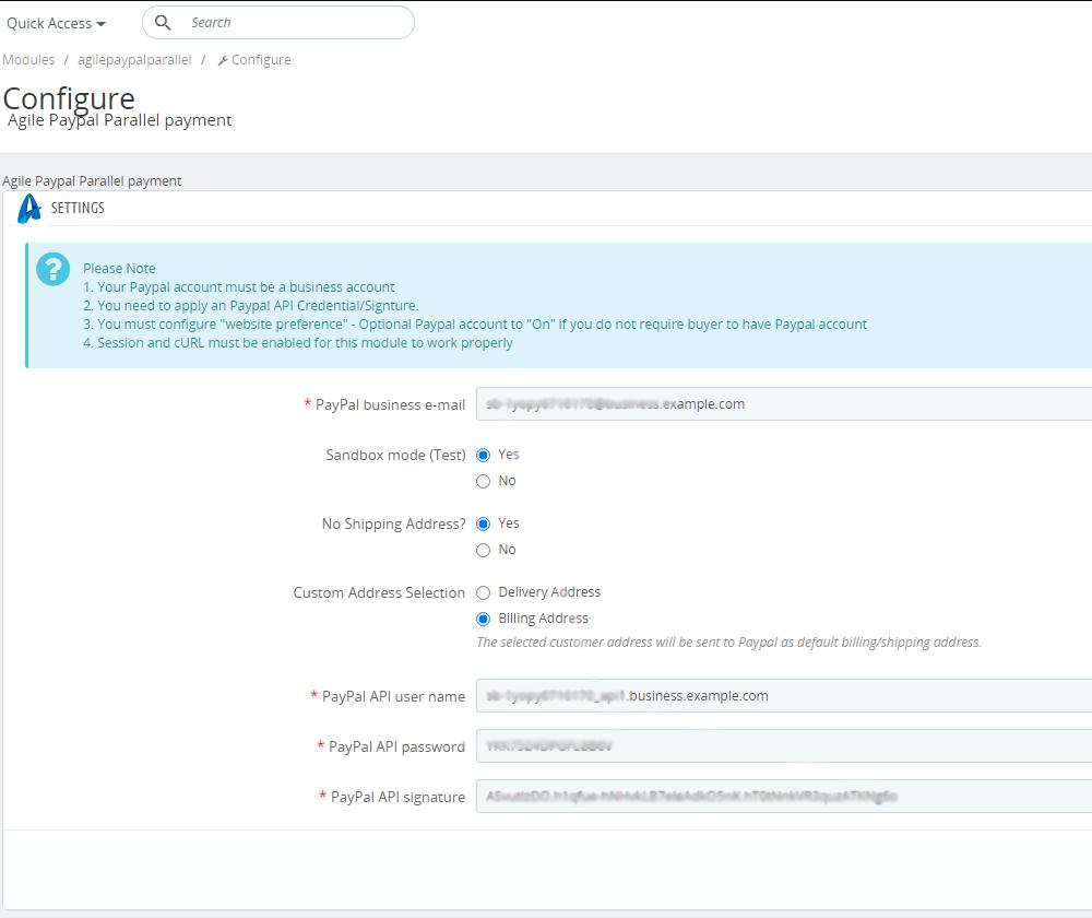 Admin configuration description