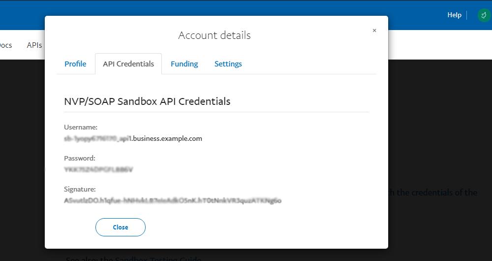 Account details - profile